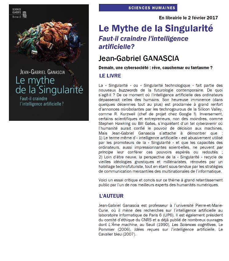 dernier ouvrage de Jean-Gabriel Ganascia